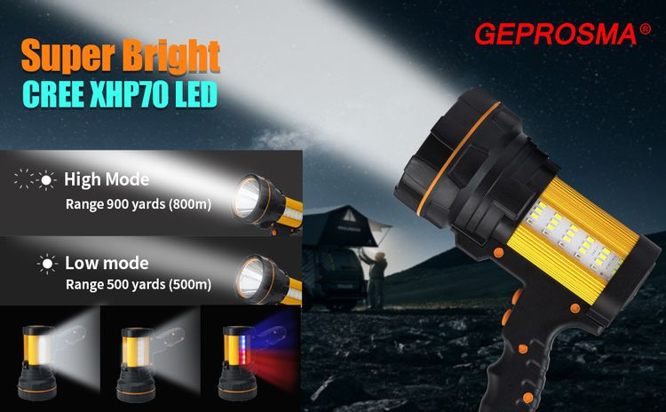 Super Bright Most Powerful Handheld Spotlight High powered Rechargeable searchlight