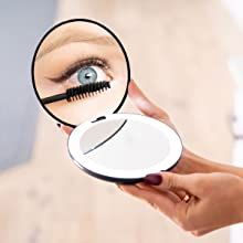 led compact mirror with 10x magnification color black