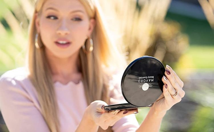 black led compact mirror 10x for makeup purse travel with pouch