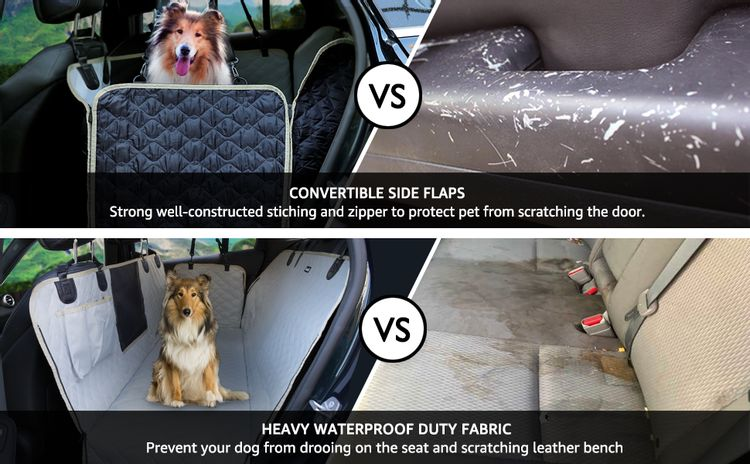 Lassie dog seat cover for back seat with mesh window