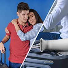 Handheld steamer in a suitcase holded by a kid and his mom