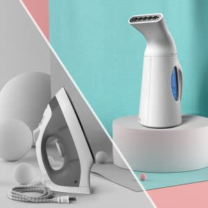 iSteam Steamer for clothes on the floor at a home bedroom