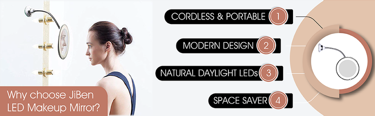Cordless, Portable, Daylight LED, Flexible, Mirror, Magnifying, Magnification