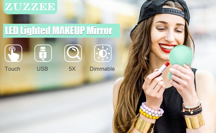 Compact travel makeup mirror with usb charging, adjustable brightness, magnification, portable size.