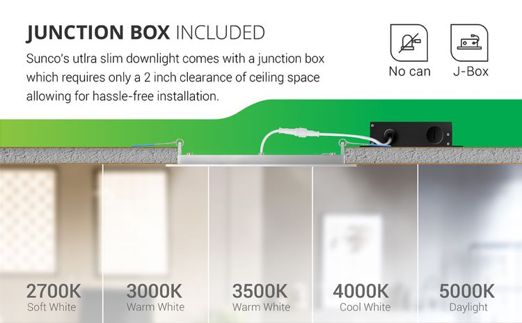 6 Inch Slim LED Downlight with Junction Box, Recessed, Simple Retrofit Install, selectable cct