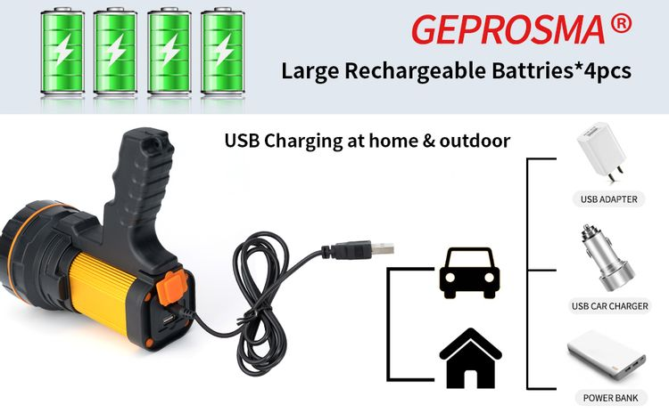 Rechargeable spotlight Handheld most powerful flashlight High powered Rechargeable searchlight