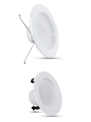 Image of four round recessed lights for size comparison
