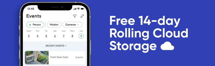 Free 14-day rolling cloud storage